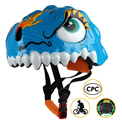 Cheap Basecamp Kids Bike Helmet CPC Certified Children Skating Riding a Scooter Helmet Boys and Girls Safe Protective Helmets Crocodile Helmet Kids Scooter Helmet (Dinosaur Blue)