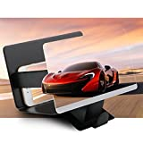 Ugetde® D2 Screen Magnifier Leather 8.3 Inch Cell Phone Enlarger 3D HD Movie Video Amplifier Foldable Holder Stand for iPhone 6 6s Plus, Samsung Galaxy Note5 4 3 S6 Edge All Smart Phones (Black)