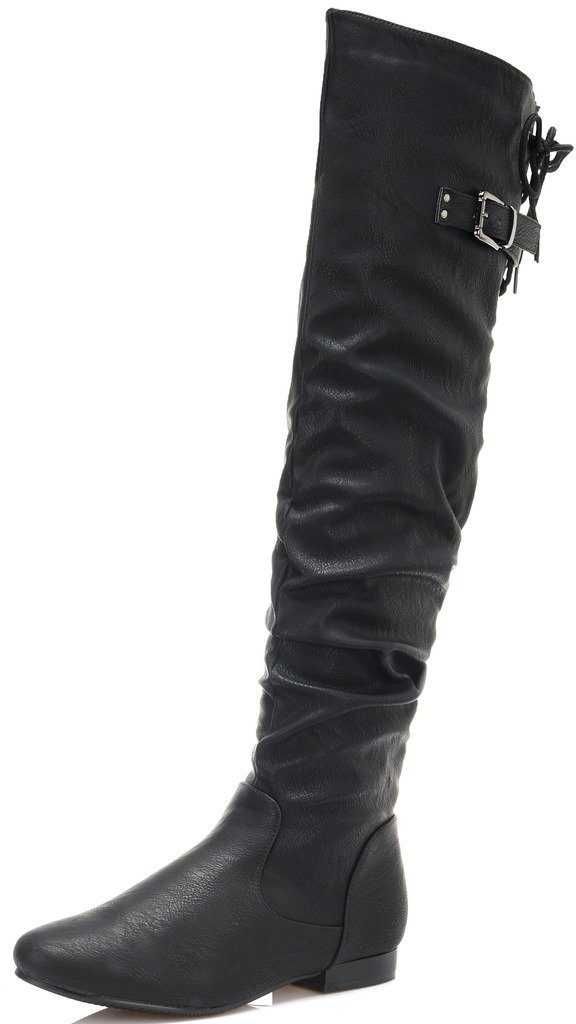 DREAM PAIRS Women's Colby Black Pu Over The Knee Pull On Boots - 12 M US