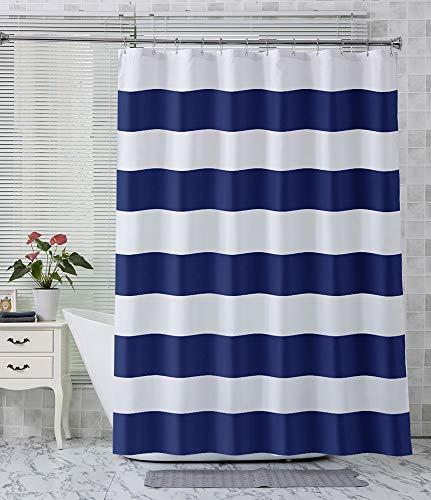 AmazerBath Fabric Shower Curtain, Navy Stripe Polyester Fabric Shower Curtains with 2 Heavy Duty Clear Stones, Decorative Curtains for Bathroom Hotel Quality, 72 X 72 Inches (Curtains Navy White And Striped)