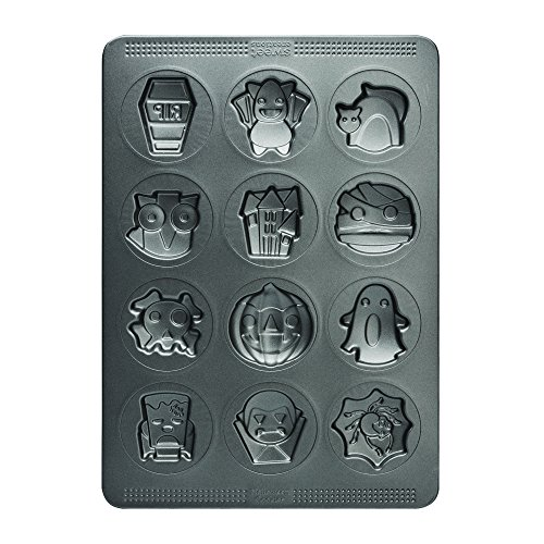 Character Creation Frankenstein (Sweet Creations 04859 12-Cup Halloween Non-Stick Cookie Mold, Gray)