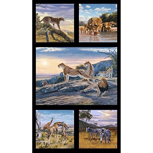 frican Animals 23.5in Panel Black Fabric (African Safari Fabric)