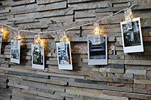 Photo Clip String Lights - LED EchoSari 20 Picture, Artwork Hanging Clips AA Battery Powered Fairy Lights (3.5 Meters - Warm White) For Wedding, Party, Home, Bath, Decoration, Dorm Room, Valentines