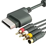 Importer520 6ft Gray AV Composite and S-Video Cable Compatible With Microsoft Xbox 360 / Xbox 360 Slim