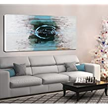 ARTLAND Hand-painted 24x48-inch 'Blue Eyes' Gallery-wrapped Abstract Oil Painting on Canvas Wall Art Set