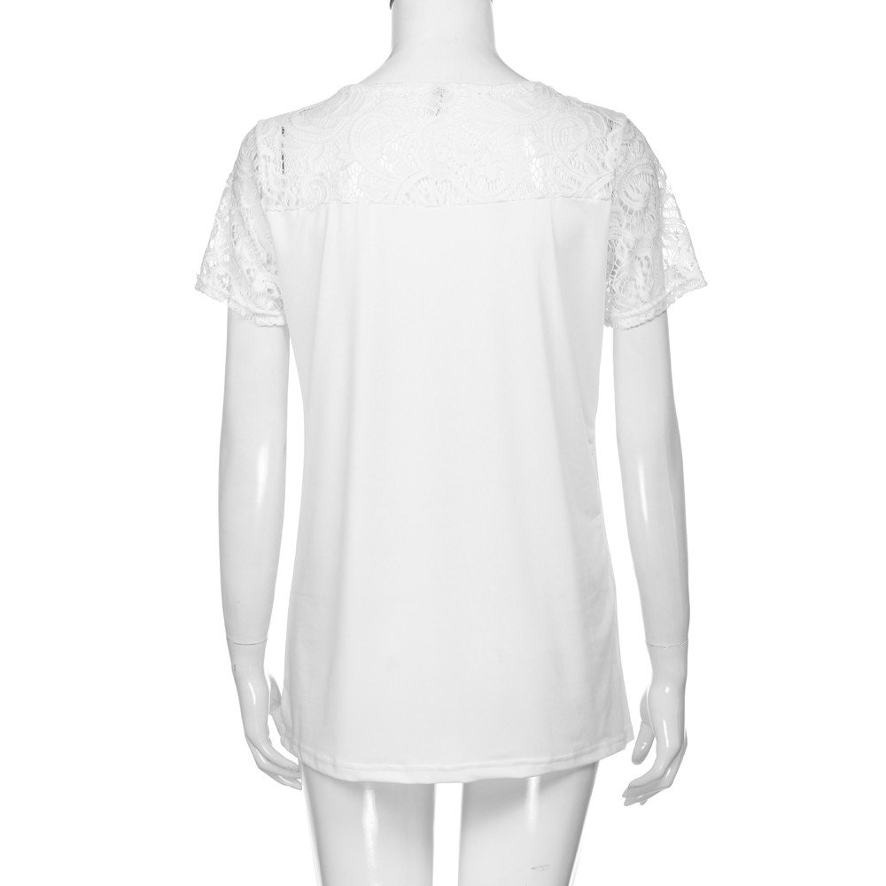 Siriay Women Shirts Lady Lace Hollow Out Tee Tops Solid Blouse Casual T-Shirt White by SIRIAY Women T-shirt (Image #3)
