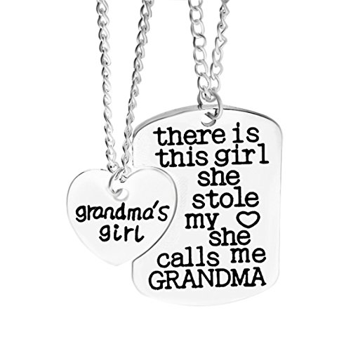 Dolland 3PCs/Set Fathers Mothers Birthday Jewelry Necklace Gift Keychain Pendant Necklace Set,Grandma (Rectangular Pendant Dog Tag)