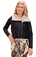 Curio & Kind Big Girls Faux Leather Moto Jacket with Faux Fur Lining, Black