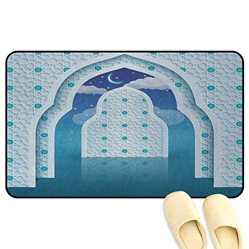homecoco Moroccan Bathroom Rug Carpet Eastern Arabic Quote Textured Arch Door with Cloudy Star Sky Night Backdrop Print Navy Blue Decorative Floor Mat W31 x L47 INCH