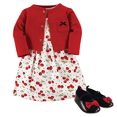 Hudson Baby Baby Girl Cotton Dress, Cardigan and Shoe Set, Cherries, 9-12 Months
