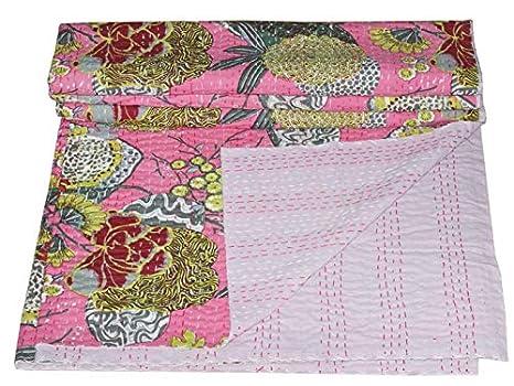 Amazon Com Ramdev Handicrafts Indian Cotton Handmade Kantha Quilt