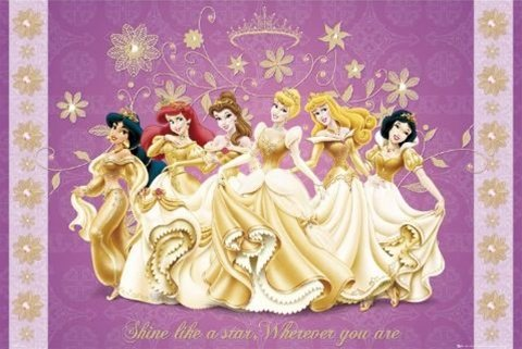 All Dressed Up Disney Princesses Cartoon Poster 24 x 36 inch