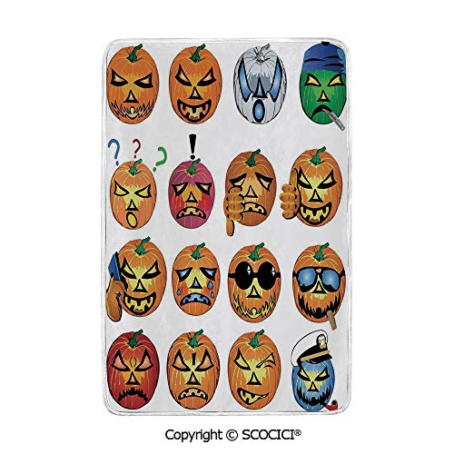 SCOCICI Ultra Comfortable,Cozy and Warm Carpet Blanket Carved Pumpkin with Emoji Faces Halloween Humor Hipster Monsters Art No Colour Fading Rug One Side Printed (The Best Carved Pumpkin In The World)