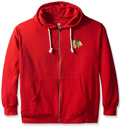 (Profile Big & Tall NHL Chicago Blackhawks Women's Full Zip Fleece Logo Distressed Screen Print Hoodie, 3X, Red/White)