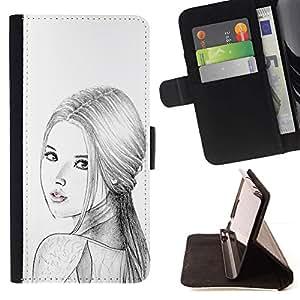 Momo Phone Case / Flip Funda de Cuero Case Cover - Mujer Rusa Moda Señora Lápiz - HTC One A9