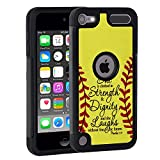 iPod Touch 6 Case,iPod Touch 5 Case,Rossy Softball Christian Bible Verse Proverbs 31:25 Quotes Shock-Absorption Hybrid Dual Layer Armor Defender Protective Case for Apple iPod touch 5 6th Generation