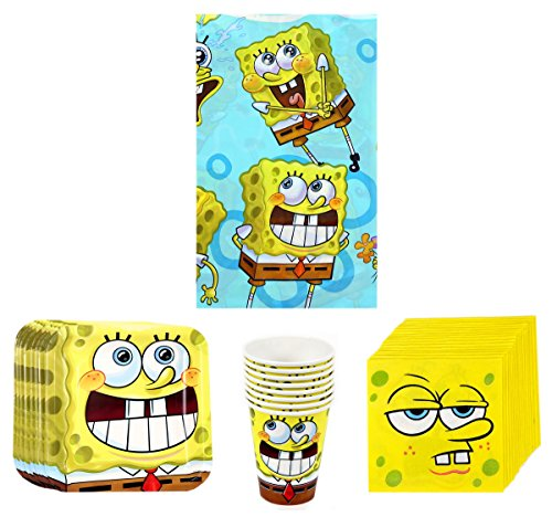 SpongeBob SquarePants Birthday Party Supplies Pack Bundle Kit Including Plates, Cups, Napkins and Tablecover - 8 Guests