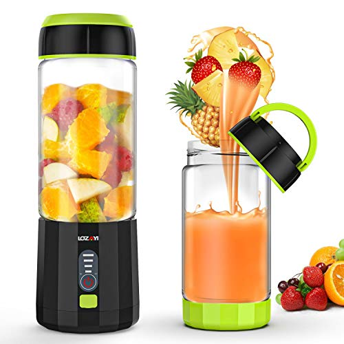 Smoothie Blender, LOZAYI Portable Personal Blender Travel USB Rechargeable Juicer Cup for Shakes and Smoothies, Cordless Single Serve Fruit Mixer Mini Blender with Led Displayer for Outdoor Travel Home Office-Green