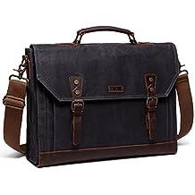Mens Messenger Bag,Vaschy Genuine Leather Waxed-Canvas Satchel Fits 15.6 inch Laptop Briefcase Shoulder Bag Bookbag