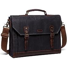 Vaschy Vintage Genuine Leather Canvas Messenger Bag Laptop Briefcase Satchel Shoulder Bag Bookbag with Detchable Strap