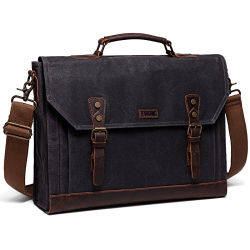 Messenger bag for men,Vaschy Vintage Waxed Canvas Leather Water Resistant 15.6 inch Laptop Satchel Business Briefcase Shoulder Bag Gray
