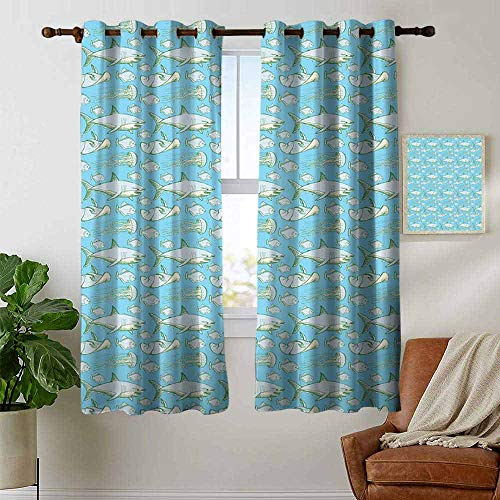 """petpany Blackout Curtains 2 Panels Shark,Sea Creatures in Vintage Style Swimming Flatfish Stingray and Jellyfish,Pale Blue Grey Green,for Room Darkening Panels for Living Room, Bedroom 52""""x63"""""""