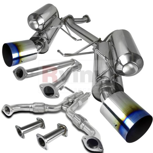 Spec-D Tuning MFCAT3-G35032 Infiniti G35 Nissan 350Z 2Dr Coupe Dual Exhaust Catback System Burnt Tip ()