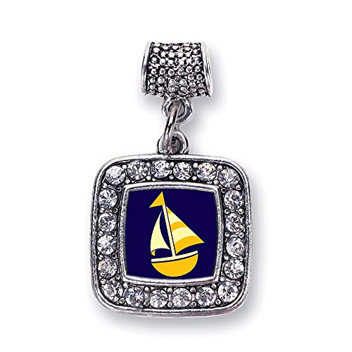 Inspired Silver - Sailboat Memory Charm for Women - Silver Square Charm for Bracelet with Cubic Zirconia Jewelry