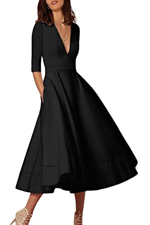 30e4b140ab YMING Women's Elegant Cocktail Maxi Dress Deep V Neck 3/4 Sleeve Vintage Pleated  Dress