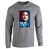 Pop Threads Alexandria Ocasio Cortez Hope Campaign Election Graphite Heather 2XL Full Long Sleeve Tee T-Shirt