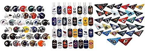 Mini Nfl Football Helmets, Table TOP Footballs, and Dog Tags Complete Sets of 32 Each, Total 96 Licensed Items CUSTOM BUNDLE BY DISCOUNT PARTY AND NOVELTY (Nfl Helmets Kids)