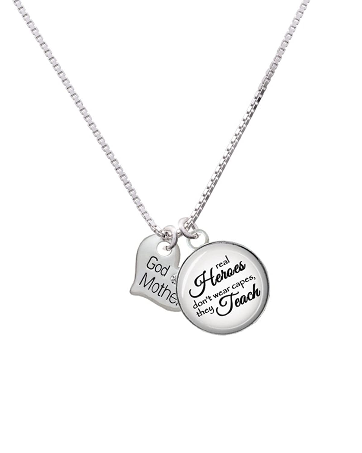"Small Family Heart Real Heroes Teach Glass Dome Necklace, 18""+2"""