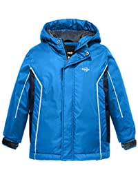 Wantdo Boy's Waterproof Ski Fleece Jacket Hooded Windbreaker with Reflective Stripes