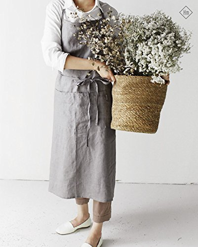 French APRON [Linen Mocha Gray] Premium Gift Chef Works Handmade Apron Japanese style Cross back with pockets (Wrap Around Apron)