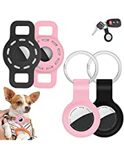 Air Tag Holder Dog Collar for Cat Small Dogs Boy Girl Pet 2 Pack Keychain Loop Ring Clip Tags Cases +2 PCS Silicone Protective Cover Airtags Case Compatible Apple Key Finder GPS Tracker Airtag (S)