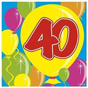 20 Servilletas 40 ª Cumpleaños, aniversario,