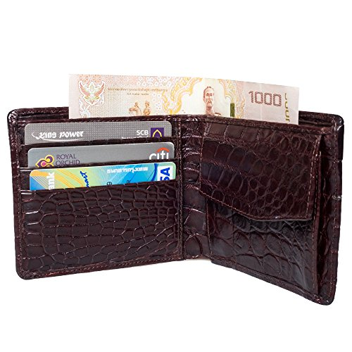 Genuine Outer Leather Holder Inner Bifold Card Wallet amp; Crocodile Belly Brown Pw6qnUrP
