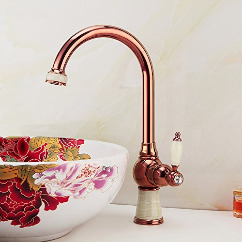 1 WSWQWL All Copper European Style Kitchen Faucet pink gold Single Hole Basin Faucet Art Basin Counter Basin Jade Faucet Bathroom faucet (color    1)