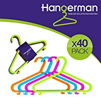 Hangerman Pack of 40 Plastic Coat Hangers for Kids Clothes - CHILDRENS CLOTHES COAT PLASTIC HANGERS HANG BABY CHILD CHILDREN KIDS HANGING STORAGE
