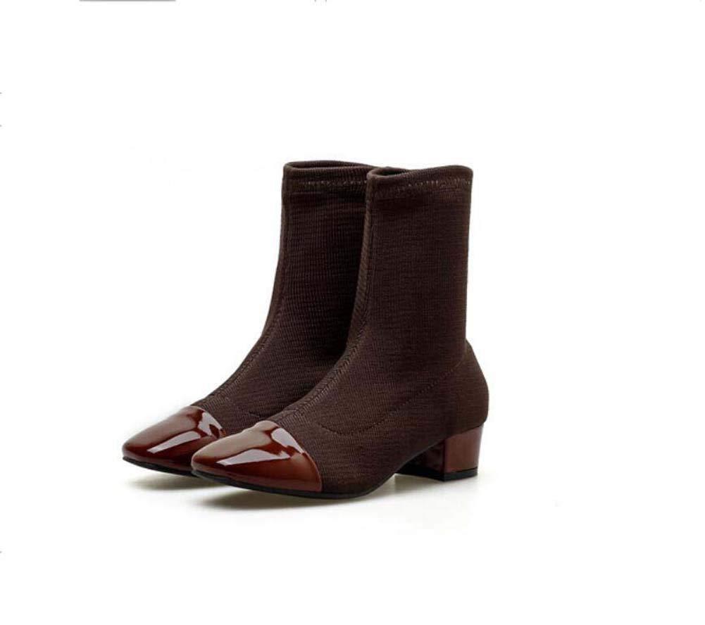 Bottine Chaussure 4Cm Femmes 4Cm Chaussure Chunkly Talon Carré Orteil Martin Botte Tricot Laine Chaussettes Chaussons Casual Chaussures De L'ue Taille 35-39 37EU|Brown 1a0d63