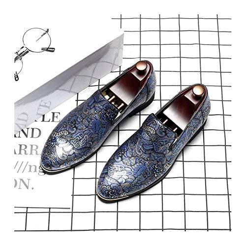 Pelle Scarpe Sera Blu Punta su a Scivolare Uomo Scarpe da Moda Punta NXY Nero Blu Lavoro da Formale SgEqnCx