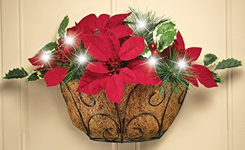 UPC 842022168388, LED Indoor or Outdoor Red Poinsettia Basket, Wall