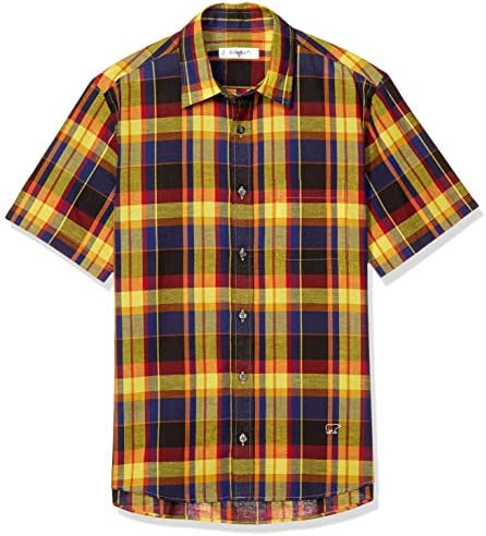 カジュアルシャツ マドラスチェック柄半袖シャツ メンズ