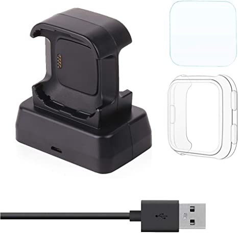 Moutik Charger Fitbit Versa Smartwatch:Charging Dock Accessories Station with Tempered Glass Cradle Cable Protective Case
