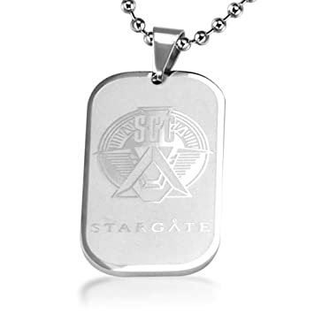 Stainless Steel Sgc Stargate Star Gate Tags Pendant Necklace For Men