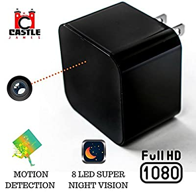 Hidden Wall Camera - USB Charger Camera - Hidden Security Cameras - Concealed Electronic - Night Vision Detection - HD - Home Invasion Detector - Motion Detector - Dual USB Ports - Hidden Cam from Castle James