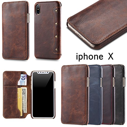 iPhone X Case, Reginn Waxed Leather Wallet Case with [Card Slot] [Cash Pocket] and [Stand Function] [Wireless Charging Compatible] Folio Cover for 5.8 Inch Apple iPhone X (Wine Red) by Reginn (Image #5)
