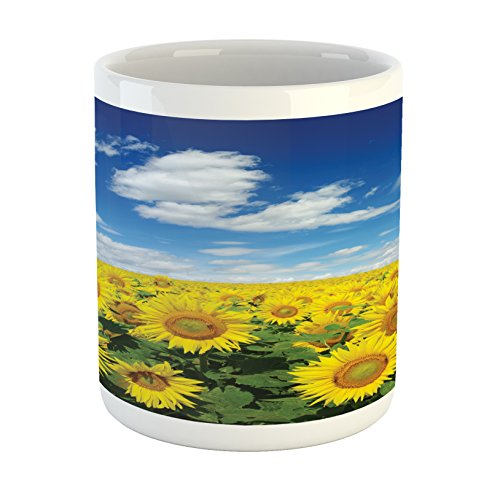 - Ambesonne Sunflower Mug, Fresh Sunflowers Field Under Clear Sky Clouds Countryside Farm Picture, Printed Ceramic Coffee Mug Water Tea Drinks Cup, Blue Green Yellow