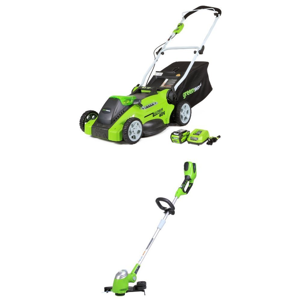 GreenWorks 16-Inch 40V Cordless Lawn Mower + 13-Inch Cordless String Trimmer, 4.0 AH Battery Included