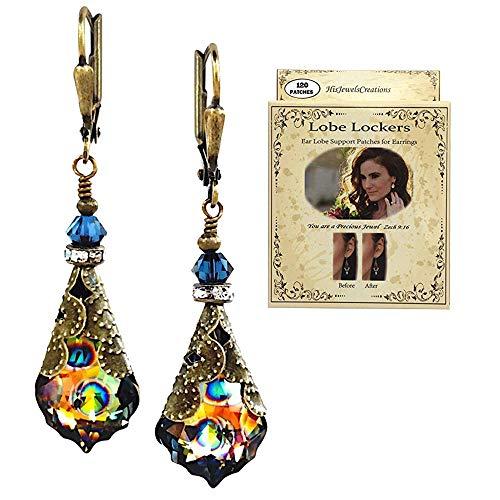 HisJewelsCreations Baroque Crystal Vintage Inspired Leverback Dangle Drop Earrings (Peacock with Lobe Locker)
